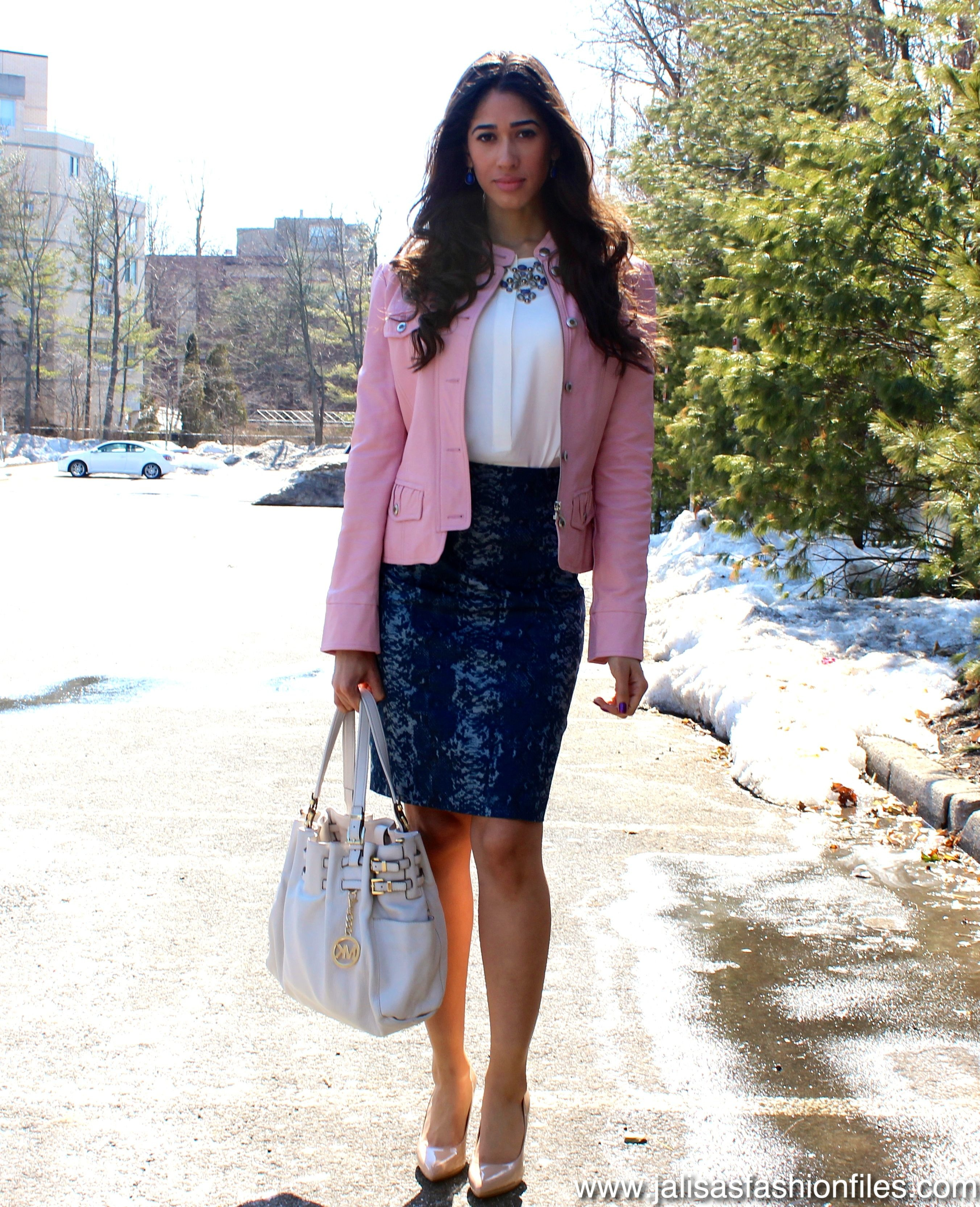 Light Pink Leather Jacket Outfit